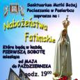 Już od 5 maja w każdą pierwszą sobotę miesiąca o godz. 19;00 zapraszamy na Nabożeństwa Fatimskie.